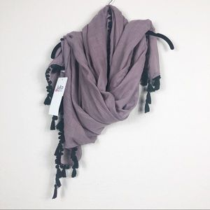 Lulla by Bindya | mauve taupe wrap with black poms